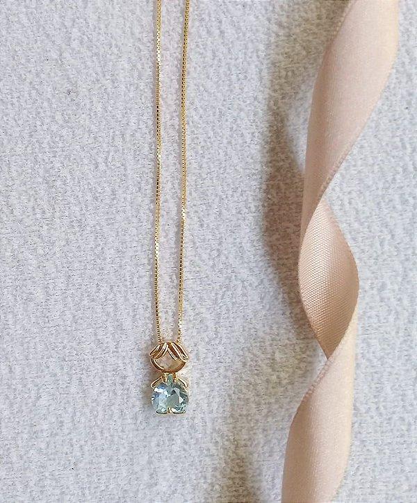 Colar coração azul cristal com pingente 1 menino banhado a ouro 18k