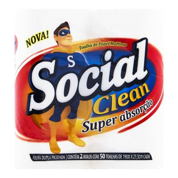 PAPEL TOALHA SOCIAL CLEAN MULTI-USO C/2UN