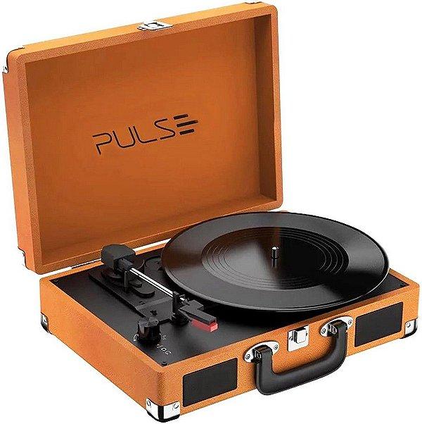 Vitrola Toca Vinil Retrô Pulse Berry Suitcase Turntable SP364, Potência 5W, Com Bluetooth Bivolt