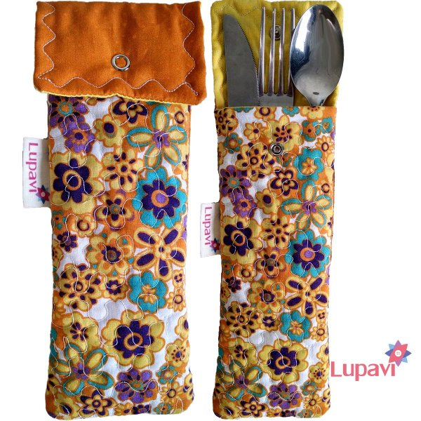 Porta Talher Mini Amarelo Floral
