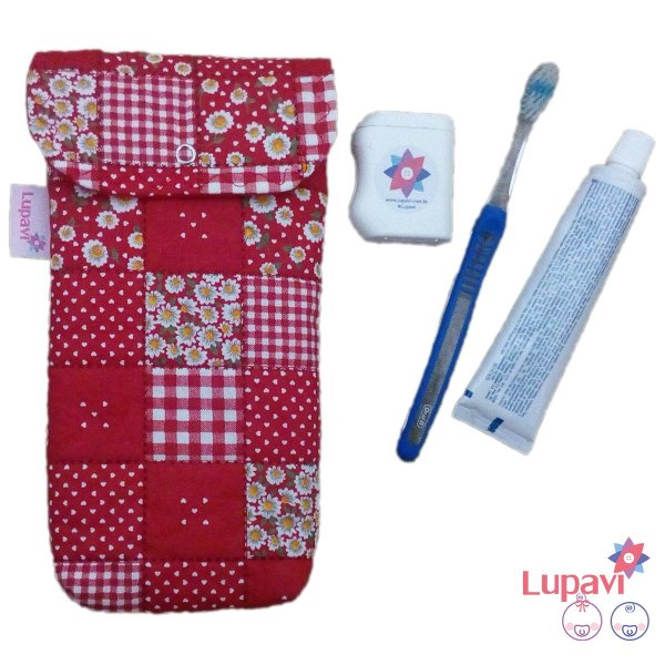 Kit Higiene Bucal Patchwork Vermelho