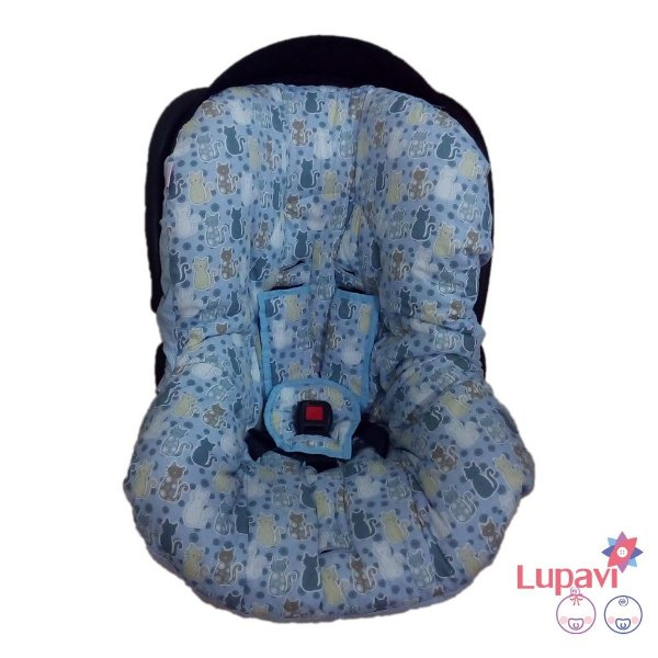 Capa para Bebê Conforto Gatinho Azul
