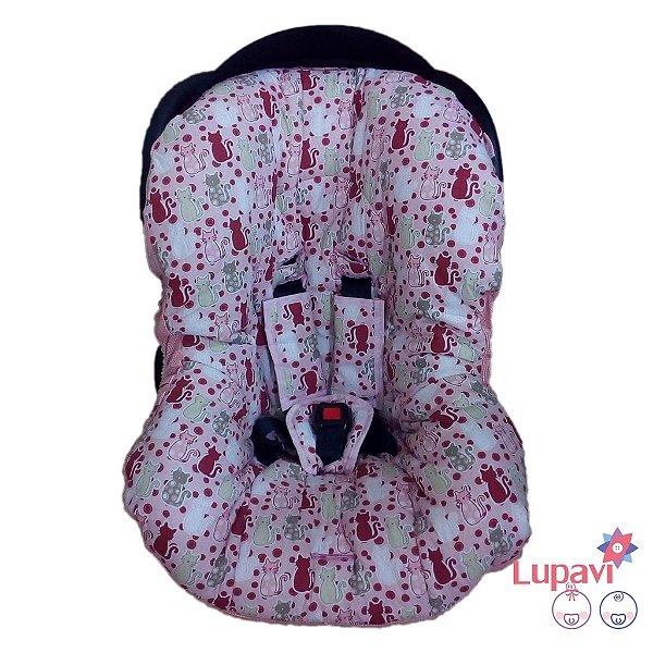 Capa para Bebê Conforto Gatinha Rosa