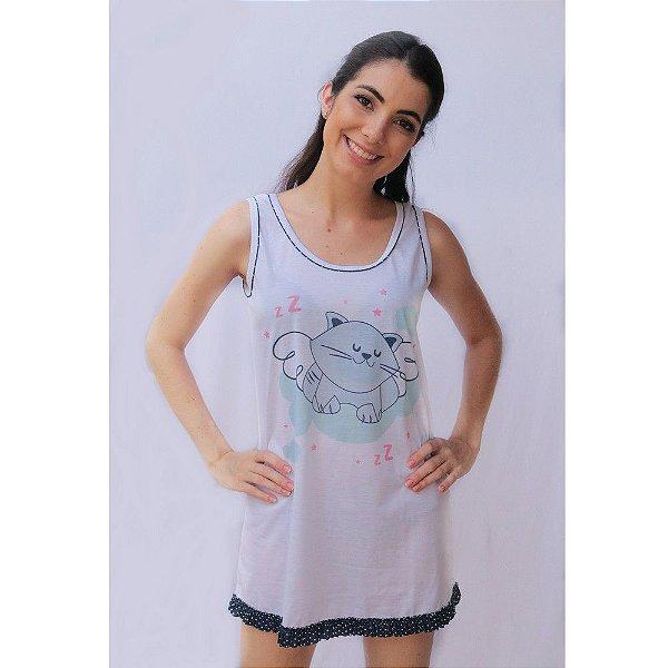 Camisola Regata Adulto Feminino Estampa Gato Cor Branca Acabamento Azul Marinho