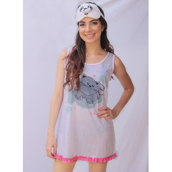 Camisola Regata Adulto Feminino Estampa Gato Cor Branca Acabamento Rosa