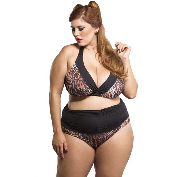 Top Biquíni Plus Size Animal Print