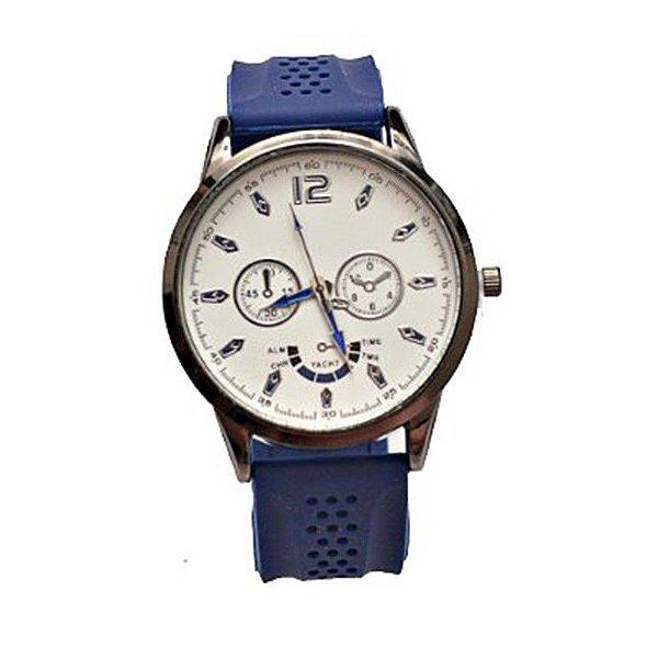 Relógio Masculino Stainless Steel Back Pulseira Azul