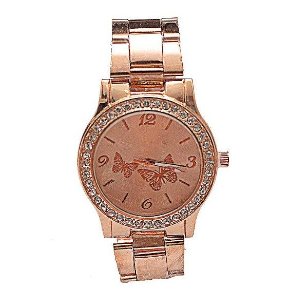 Relógio Feminino Rosé Com Fundo de Tela Borboleta
