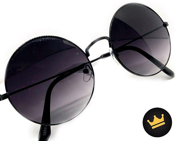 e19a66287 Óculos De Sol Redondo Top ,estilo John Lennon Ozzy Promoção! ( PRETO ...