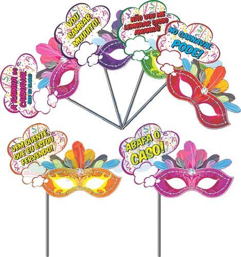 Plaquinha Máscara Carnaval com 6 Unidades