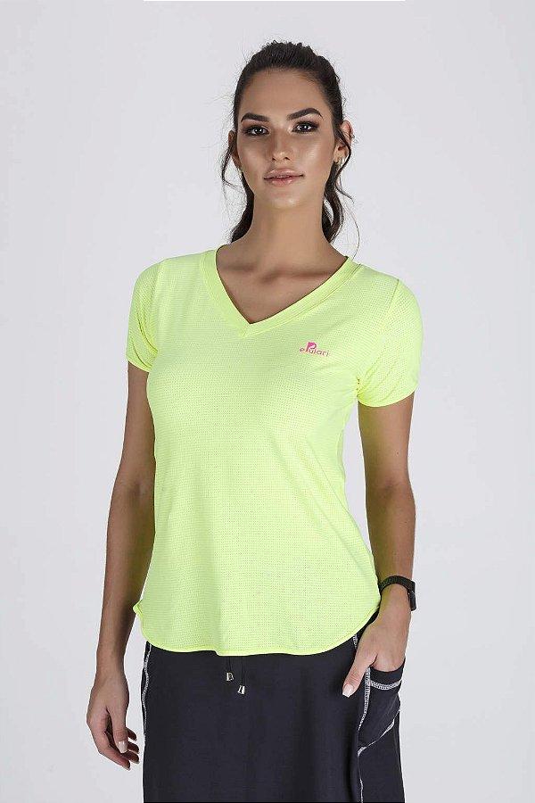 T-Shirt Fitness Feminina Alongada Amarelo Neon Epulari