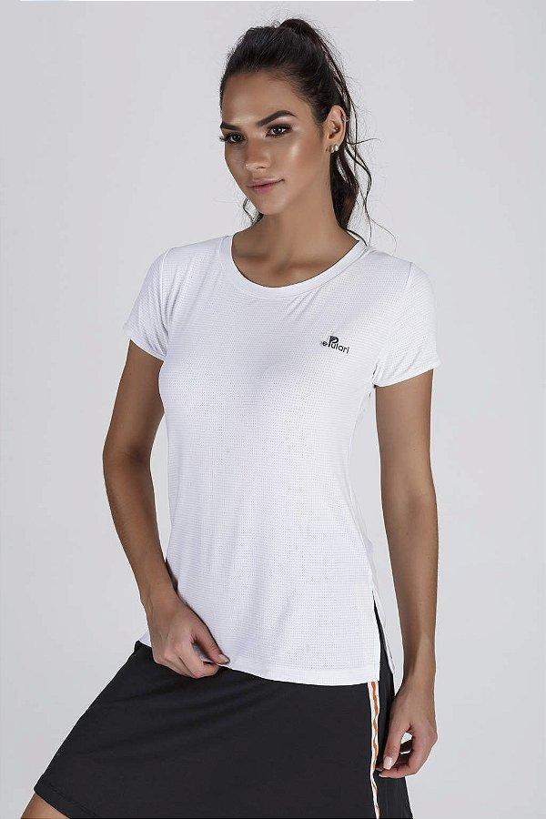 T-Shirt Fitness Feminina Branca Abertura Lateral Epulari