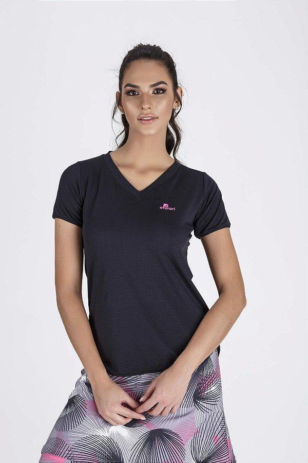 T-Shirt Fitness Feminina Preta Alongada Epulari