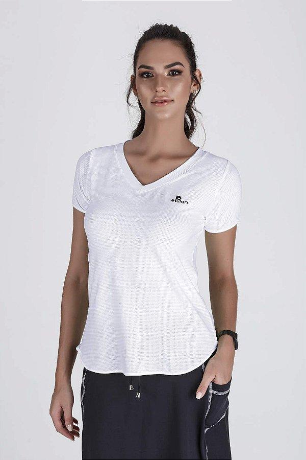 T-Shirt Feminina Branca Alongada Proteção UV+50