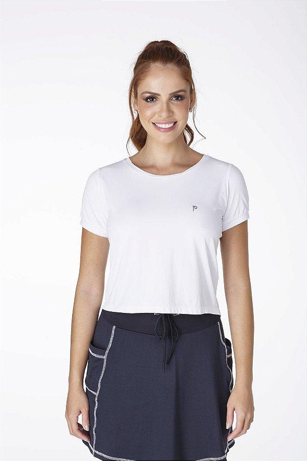 T-Shirt Cropped Branco Fitness UV+50 Epulari