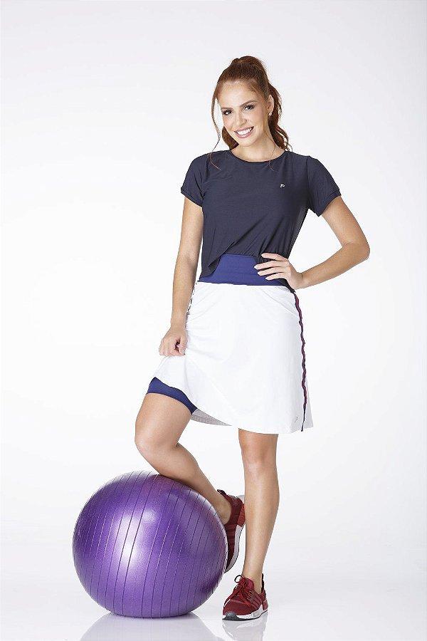 Shorts Saia Branca Com Azul Poiliamida UV+50 Epulari
