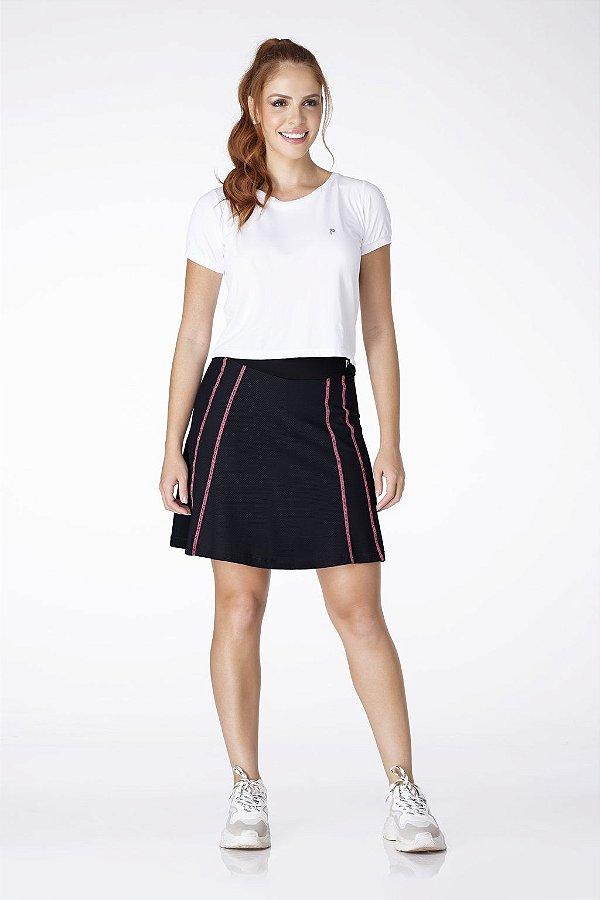 Shorts Saia Preto Poliamida Costura Rosa UV+50 Epulari