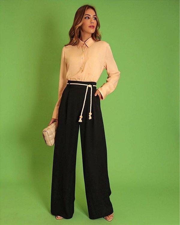 Calça Pantalona Em Crepe Twill Com Cinto Corda Donna Ritz - Preto