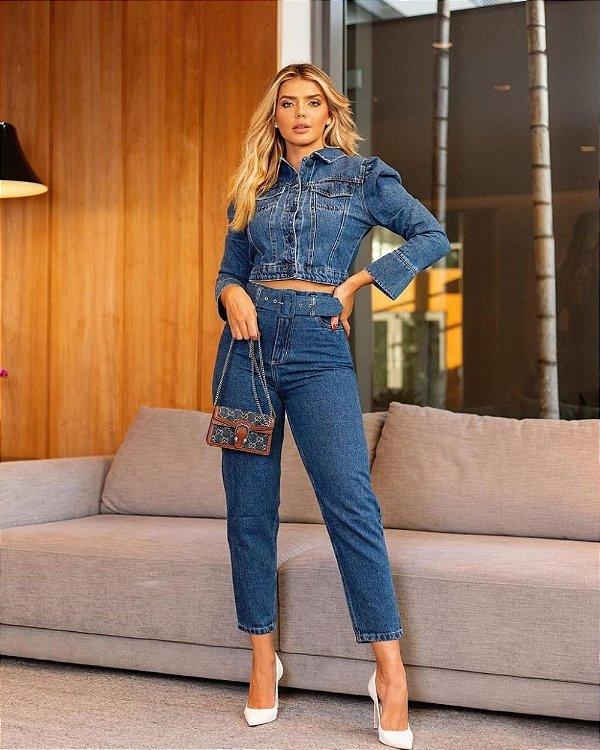 Calça Reta Jeans Com Cinto
