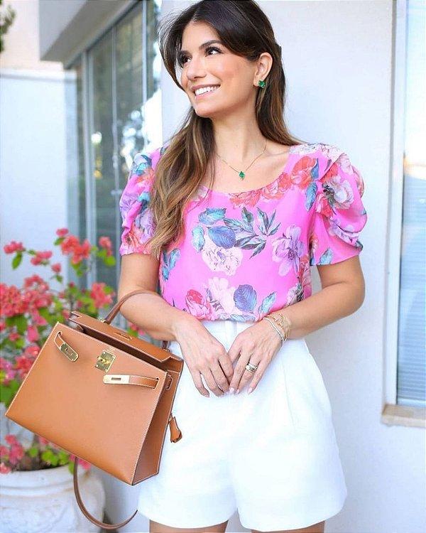 Blusa Floral Crepe Rosa Doce Flor