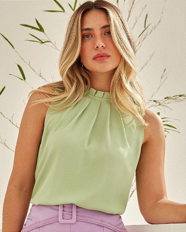 Blusa Crepe Regata Pregas Unique Chic - Verde
