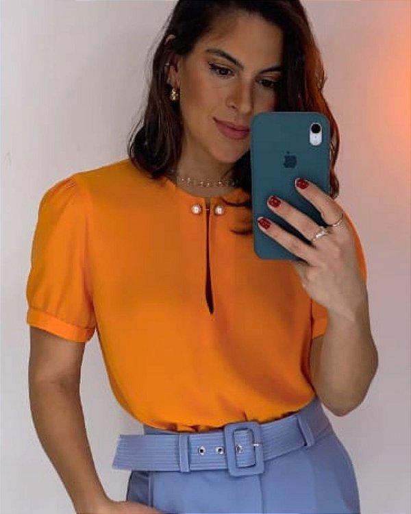 Blusa Crepe Broche Pérola Unique Chic