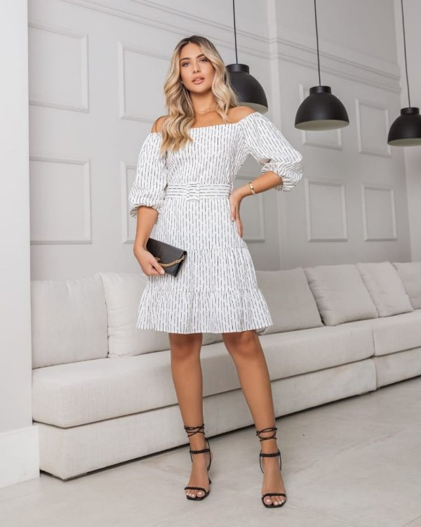 Vestido Crepe Alfaiataria Print Unique Chic