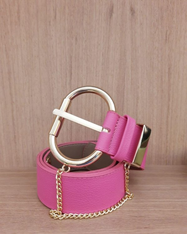 Cinto Couro Fivela Dourada - Pink
