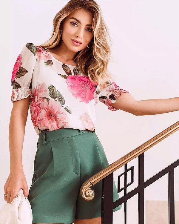 Blusa Floral Com Lastex Punho Doce Flor