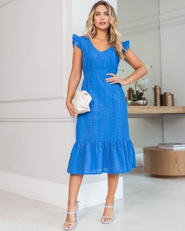Vestido Midi Laise Azul