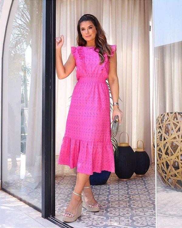 Vestido Midi Laise Doce Flor Pink