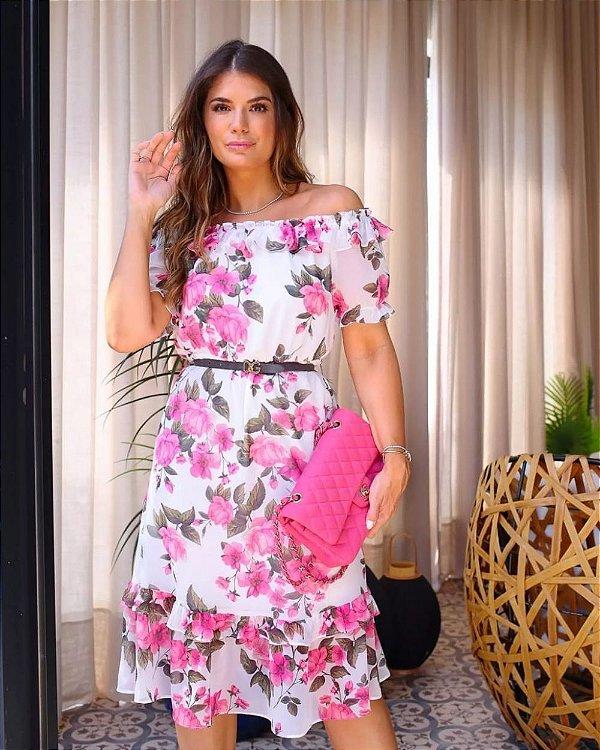 Vestido Midi Floral Doce Flor - Off