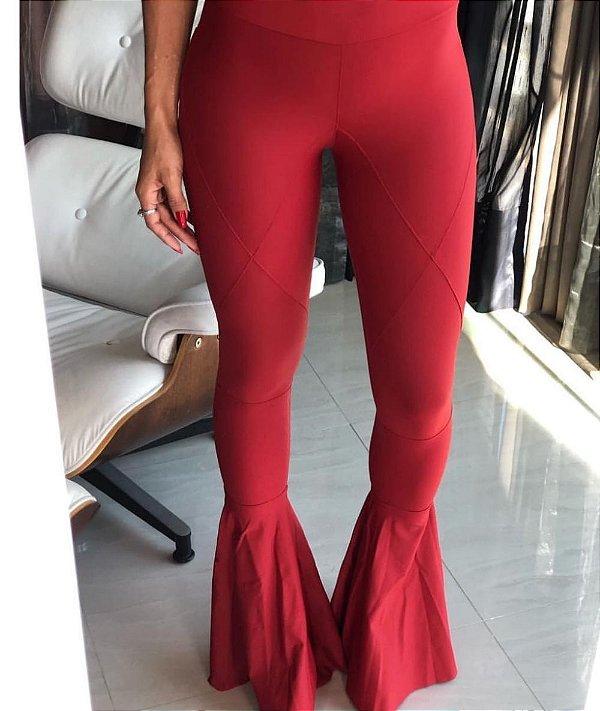 Calça Flare Sabrina X Cor Vermelho