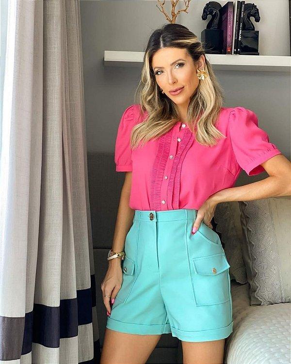Blusa Crepe Plissado Vertical Unique Chic - Pink