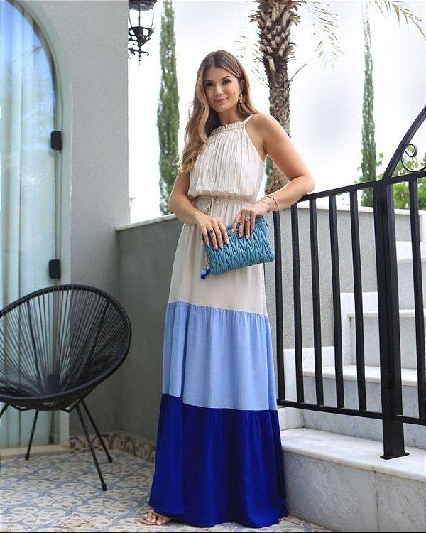 Vestido Longo  Color Blocking Aramodu