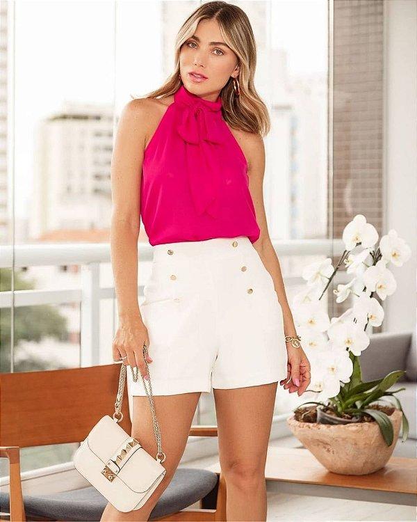 Blusa Crepe Regata Pink Laço