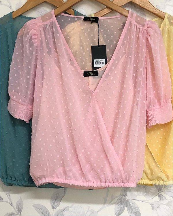 Blusa Decote V Poá Alto Relevo Rosa