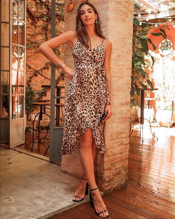 Vestido Transpasse Animal Print