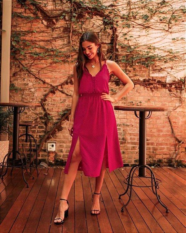 Vestido Midi Decote V Em Devore Donna Ritz