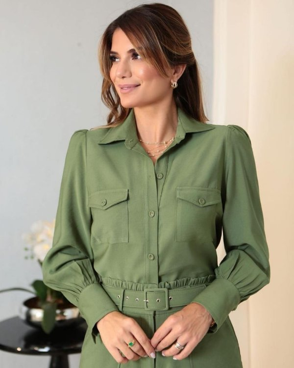 Camisa Manga Longa Com Bolsos E Punho Milalai