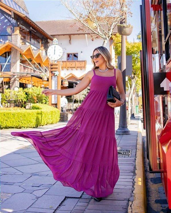 Vestido Longo Crepe Aramodu