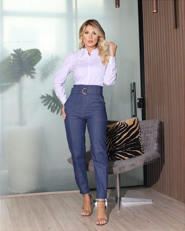 Calça Sarja Jeans Com Cinto Aramodu