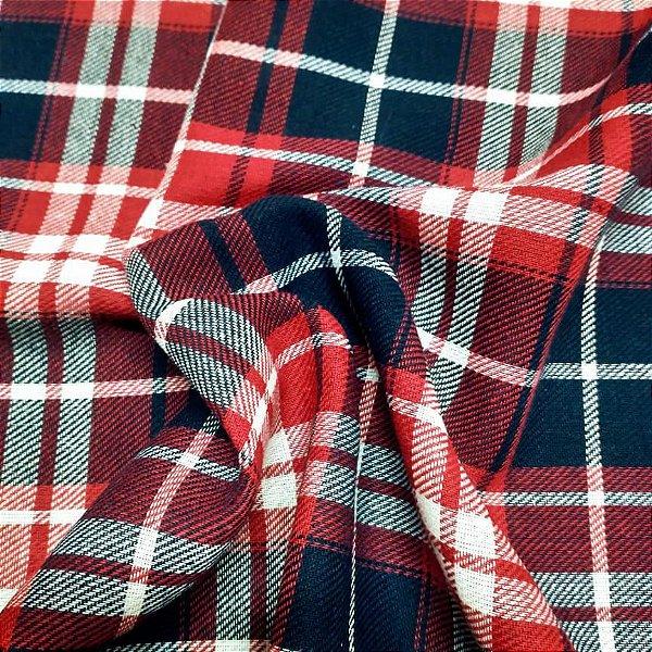 Tecido Flanela Xadrez Vermelho e Azul 1,47x1,00m para Roupas