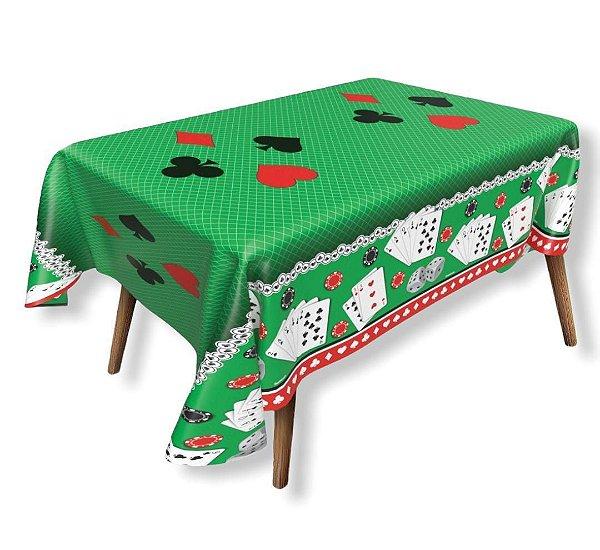Toalha de Mesa Plástica Poker Baralho Jogo 1,40x1,00m