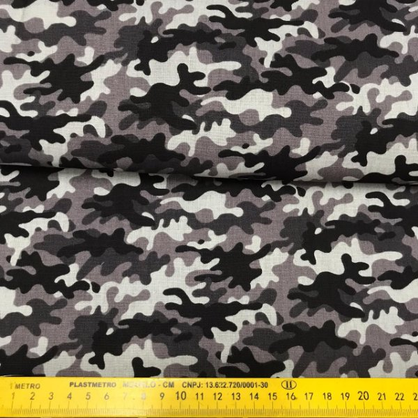 Tecido Tricoline Camuflado cinza Artesanatos 100% Algodão 1,40x1,00m