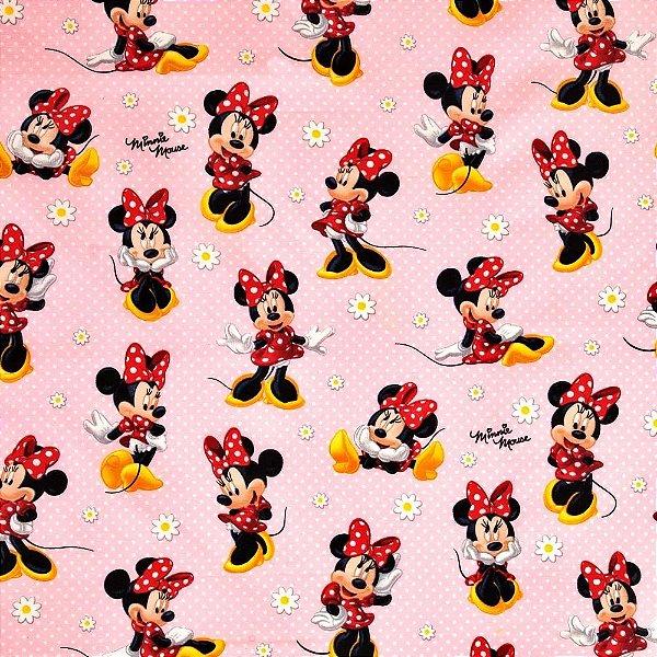 Tecido Minnie 1,40x1,00m Infantil Impermeabilizado Fundo rosa