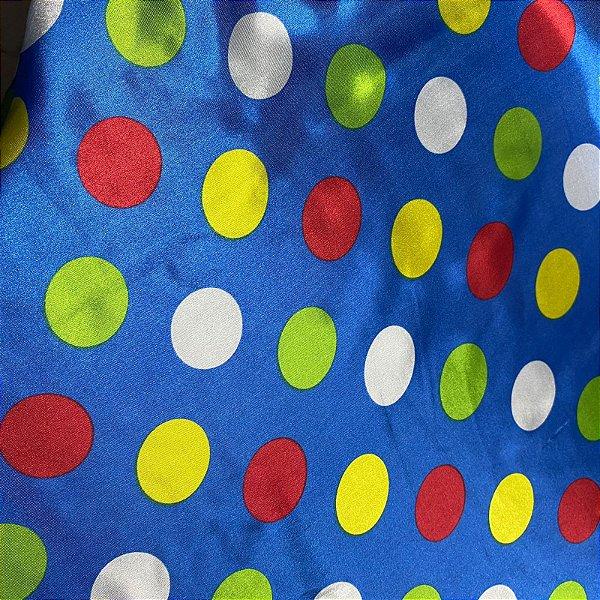 Tecido Cetim Estampado 1,40x1,00m Azul Bolas Coloridas