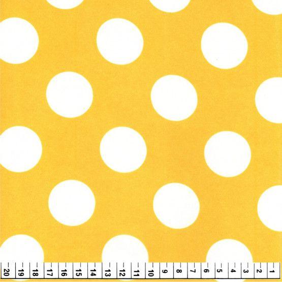 Tecido Cetim Estampado Amarelo com Poá Branco 1,40x1,00m