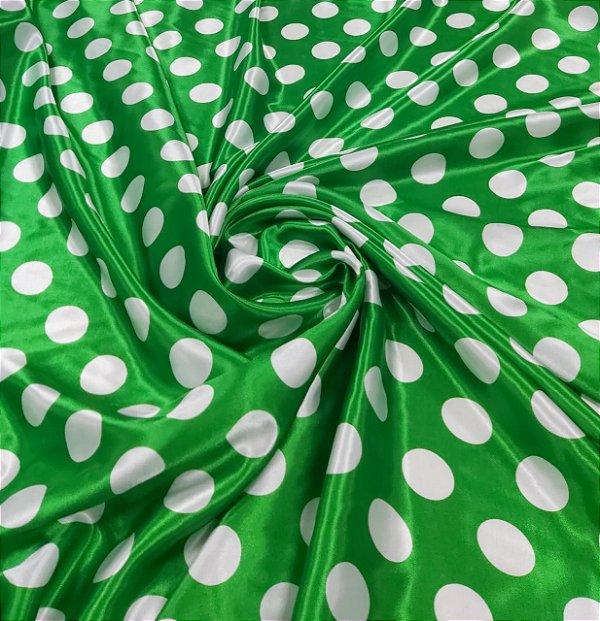 Cetim Estampado Poá Verde 1,40x1,00m Fantasias e Festas