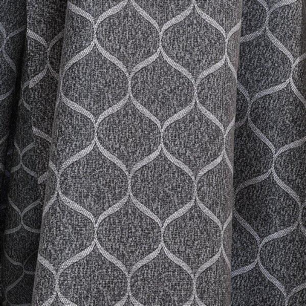 Tecido Para Sofá e Estofado Jacquad Impermeabilizado Panama 138 Geometrico Preto Branco - Largura 1,40m - PN-138